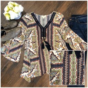 Boho Shirt with Tassels- size Medium